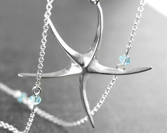 Sterling Silver Starfish Necklace Delicate Simple Necklace Sterling Starfish Pendant Necklace