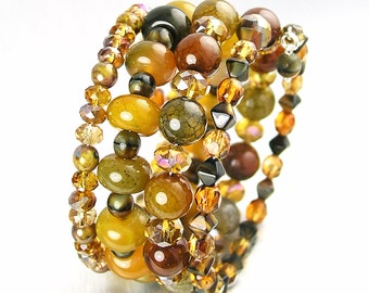 Colorful Beaded Bracelet Multi Strand Bracelet Earthy Brown Green Gemstone Wrap Bracelet Multicolor Memory Wire Bracelet Boho Jewelry