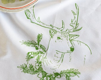 Christmas Towels - Christmas Tea Towels - Deer Towel - Kitchen Towels - Screen Print Tea Towel - Flour Sack Towel - Dish Towels - Reindeer