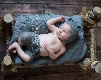 Pewter Gray Mohair Teddy Bear Hat and Shorts Set Newborn Baby Photography Prop
