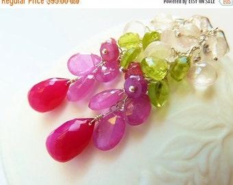 3DAY SALE Fuchsia Chalcedony, Pink Sapphire, Ruby, Green Peridot & Rose Quartz dangle Earrings. Cluster earrings. Gemstone cascade