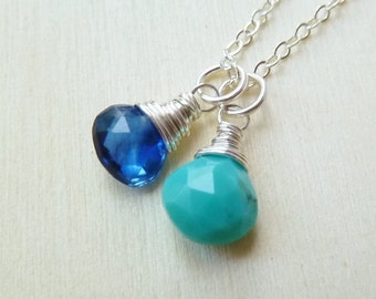 SALE Any 2 birthstone necklace. Gold or Silver. Personalized Birthstone jewelry. Sapphire Turquoise. Birthstone Pendant. Charm. Mother's day