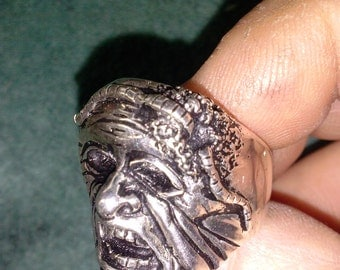 Skull Ring Worm Head sterling silver monster