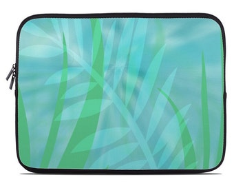 Tropical Leaves Laptop Sleeve, blue green laptop case, laptop cover, to fit 10, 13, 15, 17 inch, computer sleeve, netbook case