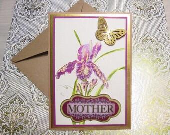 MOTHER BIRTHDAY watercolor iris handmade card