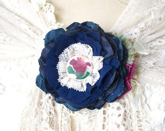 Navy Blue Fabric Flower Pin, Wedding Brooch, Shawl Pin, Floral Pin for Dress, Sash Pin, Bridal Corsage, Textile Brooch, Gift for Women Girls