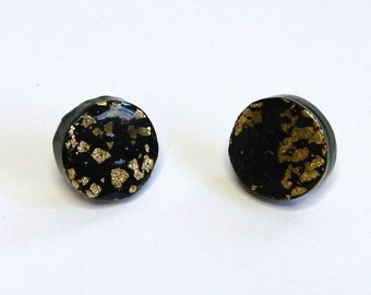 Black Round Stud Earrings Black Round Post Earrings Black Circle Stud Earrings Polymer Clay Earrings Hand Made