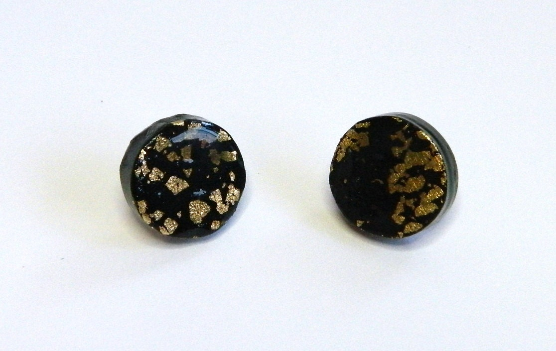 black stud earrings black post earrings black