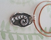 On Sale, Fern Jewelry, Fiddlehead Pendant, PMC, Botanical Jewelry, Recycled Fine and Sterling Silver, by SilverWishes