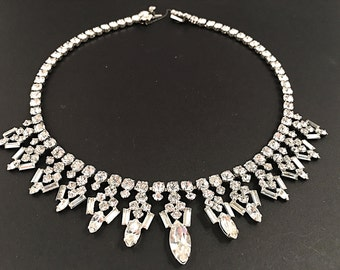 Sterling Kramer Necklace, Vintage Jewelry, Bridal Jewelry, Elegant Sterling Silver Rhinestone Choker, Vintage Necklace, Silver Necklace