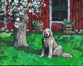 """Acrylic Painting PRINT, Dog, Flowering Tree, """"Riley's Place"""", 5x7 Fine Art Print,hand-signed,print of original acrylic painting"""