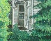 "Art PRINTof my original acrylic painting,""Evergreen"", Fine Art Print, Wall Decor, Trees,Old House,Front Door,by artist Patty Fleckenstein"