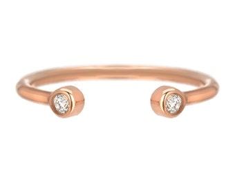 Diamond Cuff Ring, Diamond Wedding Band, Mother's Ring, Mothers Ring, Open Cuff Ring, Gold Cuff Ring, Rose Gold, Ring, Diamond, Nixin