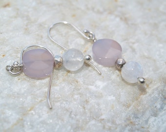 Rose Quartz and Moonstone Sterling Silver Dangle Earrings