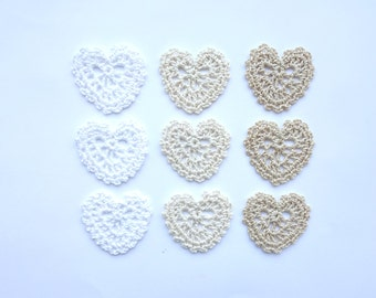 Crochet lace hearts applique - Valentines day decor - rustic wedding decorations - wedding favors - gift wrapping decorations - set of 9