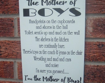 shabby chic the mother of boys sign plaque