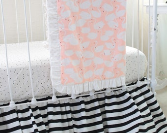 Black White and Peach Crib Bedding with Graceful Swan Print and Modern Black and White Accents, Custom Baby Girl Nursery Set - Swan Princess