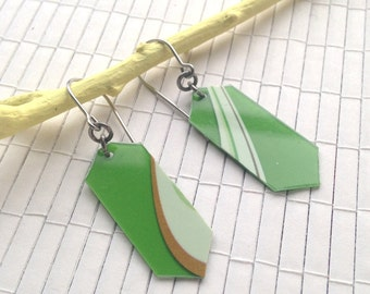 Green Geometric Plastic Earrings - upcycled used gift cards