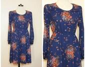 60s 70s Floral Dress Navy Blue Medium Large Long Sleeves Midi Dress Retro