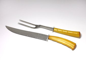 Vintage Bakelite Carving Set  with Honey Colored Handles - circa 1940's