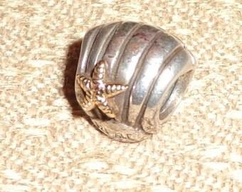 Pandora Seashell Clamshell Starfish Charm Bead 14K Gold .925 Sterling Silver