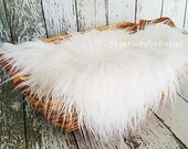 White Mongolian Faux Fur Fabric Prop, Newborn Photo Prop, Faux Fur Prop, Backdrop, Basket Filler, Craft Fur