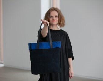 Felted handbag, black blue bag, Comfortable tote bag, wool bag, leather handles, woman handbag, GIFT for her, ready to send