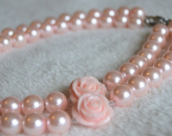 Girls' Necklace Blush Pink Beaded Necklace