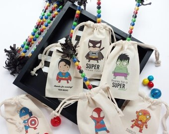 Superhero  -  Personalized Favor Bags - Set of 10 - Choice of text - hulk - spiderman - captain america - batman - iron man - superman