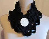 Crocheted Neckwarmer with A Large Vintage Button.....Black