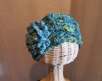 Cabbage Rose Headband...Ear and Neck Warmer...Teal and Green