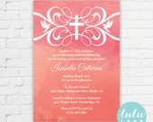 Watercolour Flourish Printable Invitation / Baptism, First Communion, Confirmation