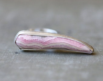 Rhodochrosite Statement Ring - Knuckle Ring - Sterling Silver - Size 7
