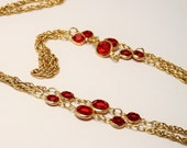 Vintage open back crystal necklace. Red necklace. Goldplated chain