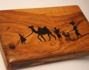 Vintage cigarette case. Souvenir of Jerusalem.  Wooden case