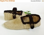 SALESAVE30 Crochet Slipper Socks, Mary Jane Slippers, Black and Tan, Gift Idea For Women, Handmade, House Slippers, Bed Slippers, Knitted So