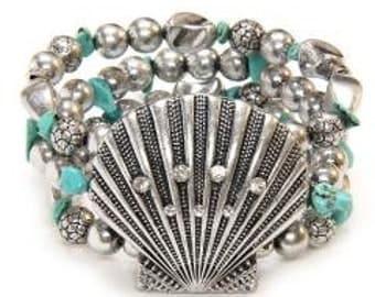 Turquoise Bracelet, Triple Strand Stretch Bracelet with Seashell Focal, Chunky, Shell Bracelet, Beach, Ocean Theme, Boho, Wide Bracelet