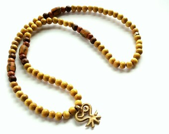 African inspired, ethnic, wood bead mens necklace- The  Sankofa