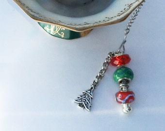Christmas Tea Infuser Jewelry, European Bead Embellished Tea Strainer, Red and Green with a Silver Tone Christmas Tree Charm, Gift Idea