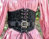"""Black on Black Corset Waist Cincher with Extra Belt Ready to Ship Waist Size 28 1/2"""" to 30"""""""