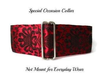 Red Martingale Collar, Silk Martingale Collar, Red Greyhound Collar, Silk Dog Collar, Silk Brocade, Custom Dog Collar