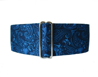 Greyhound Collar, Blue Martingale Collar, 2 inch Martingale Collar, Blue Dog Collar, Paisley Dog Collar, Dog Collars Canada