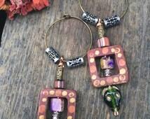 LOVE Sale wood  dangle EARRINGS, boho earrings, beaded earrings, charm earrings, zen earrings,rust earrings, folk earrings, wooden earrings,