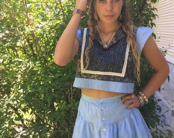 Eco Twin Set, mini SKIRT/cropped Top set,Size XS/S,Eco Clothing,festival clothing, hippy mini skirt,retro mini skirt,hippy cropped top,Zasra