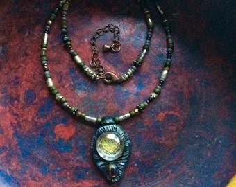 Clay necklace, charm necklace,beaded necklace, chain necklace, art deco necklace,minimalist necklace,lilac necklace, zen necklace, Zasr