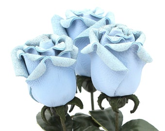 Leather Rose Baby Blue Third Anniversary wedding gift Long Stem leather flower Valentine's Day 3rd Leather Anniversary Mother's Day