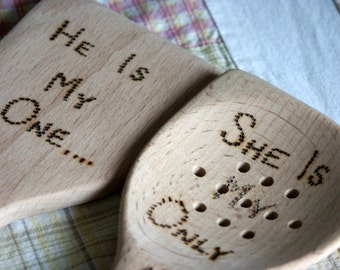 Hand woodburned beachwood cooking serving utensils in his and her wedding gift design
