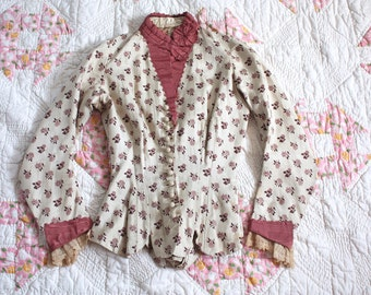 Antique Victorian Bodice Blouse // 1880s Bustle Back Corset Blouse // Raspberry Floral Pink Printed Silk Bodice Jacket // Lace Cuffs