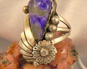 Purple Charolite Sterling Silver Ring