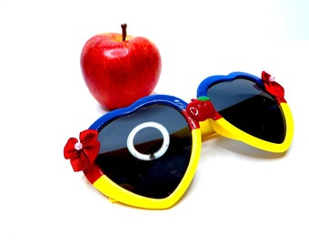 Disney Snow White Inspired Heart Shaped Sunglasses With Apple and Bows